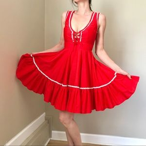 Vintage Red Square Dance Country Lace Up Dress